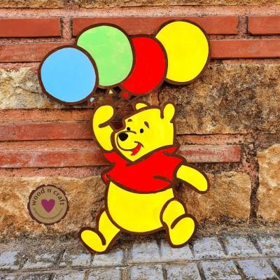 Ξύλινη Φιγούρα -  Γουίνι με μπαλόνια
