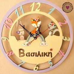 Ξύλινο ρολόι - Boho Ζωάκια