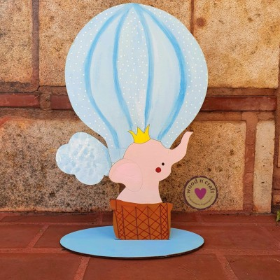 Ξύλινη Φιγούρα - Αερόστατο με ελεφαντάκι