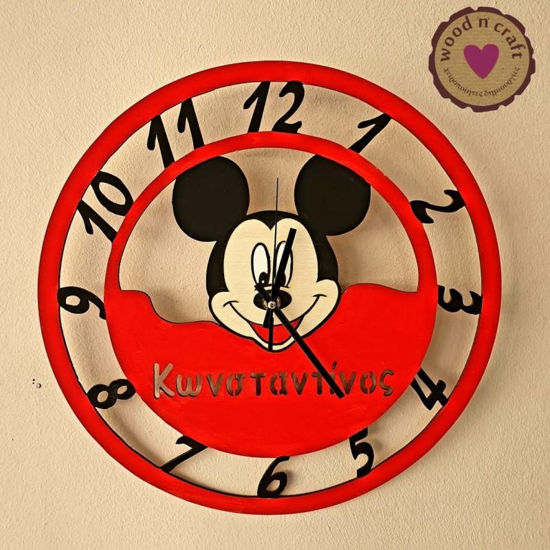 Ξύλινο Ρολόι - Μίκυ Μάους