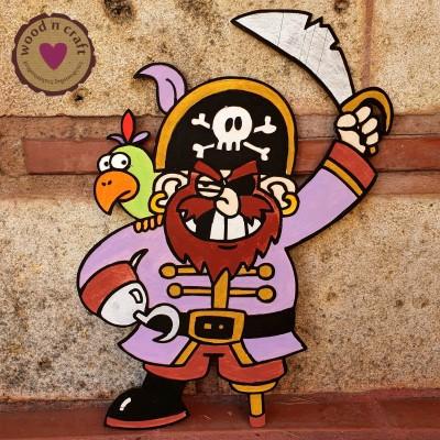 Ξύλινη φιγούρα - Πειρατής με γάντζο