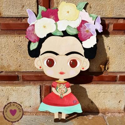 Ξύλινη Φιγούρα - Φρίντα με λουλούδια