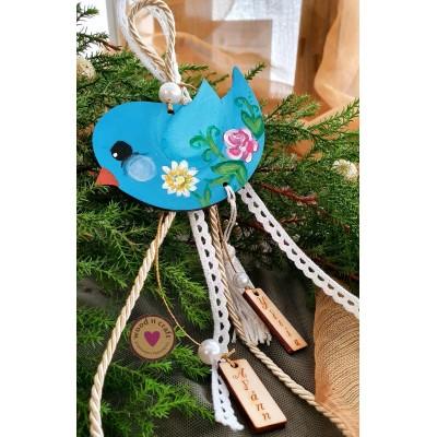 Ξύλινο Γούρι - Πουλάκι με Λουλούδια