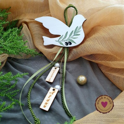 Ξύλινο Γούρι - Περιστέρι ελιά