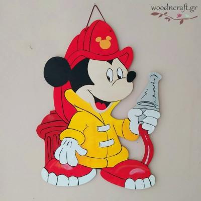 Ξύλινη φιγούρα - Μίκυ πυροσβέστης