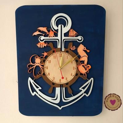 Ξύλινο ρολόι κάδρο - Anchor in the sea world