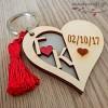 Ξύλινο μπρελόκ - Heart of love