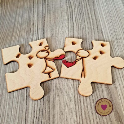 Σετ ξύλινα σουβέρ - Puzzle love