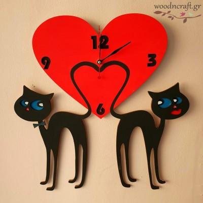 Ξύλινο ρολόι - Cats in love