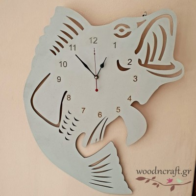 Ξύλινο ρολόι - Big fish