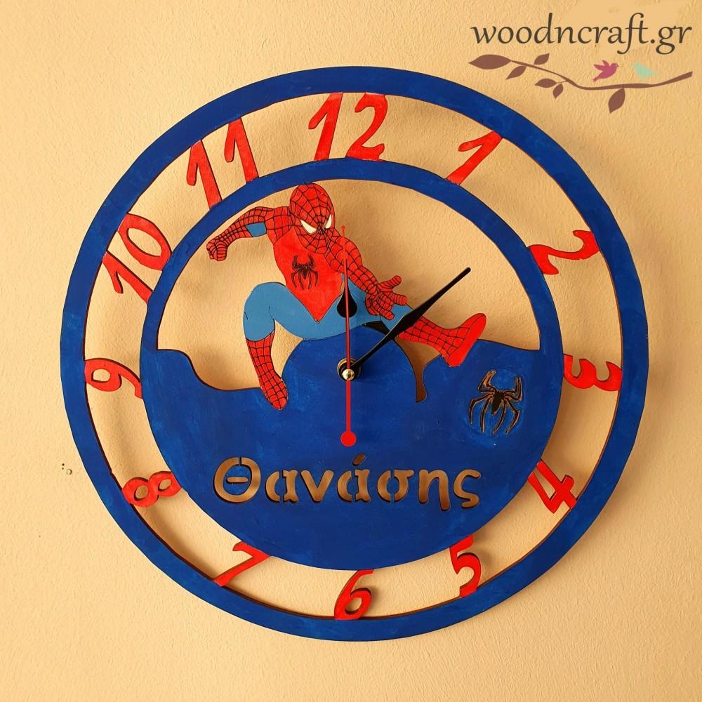 Ξύλινο ρολόι - Spiderman