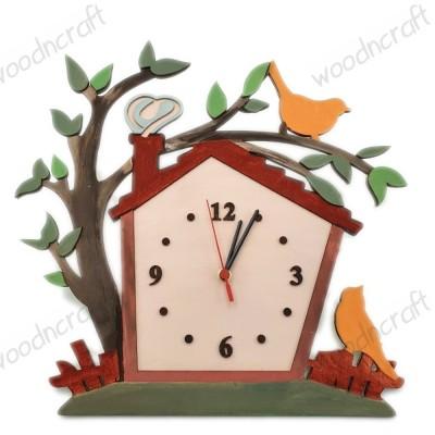 Ξύλινο ρολόι - Village home - Woodncraft