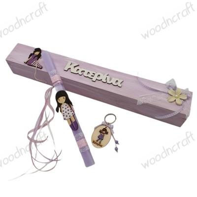 Λαμπάδα με κουτί - Santoro - Woodncraft