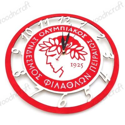 Ξύλινο ρολόι - Ολυμπιακός logo
