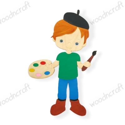 Ξύλινη φιγούρα - Μικρός ζωγράφος