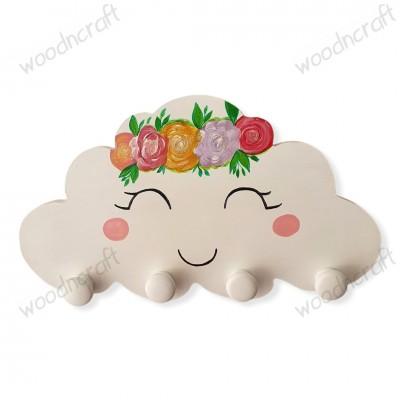 Ξύλινη κρεμάστρα - Συννεφάκι με λουλούδια