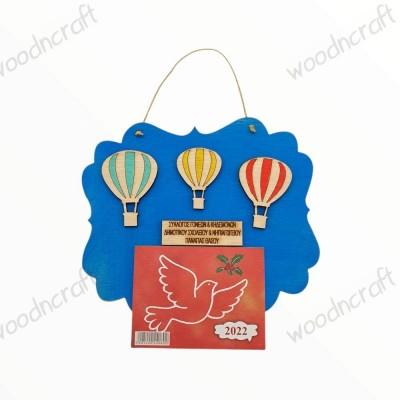Ξύλινο ημερολόγιο - Καδράκι αερόστατα - Woodncraft.gr