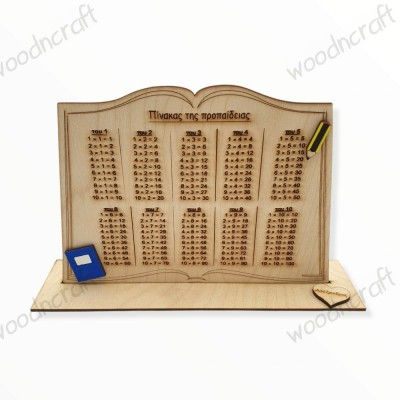 Ξύλινο σταντ βιβλίο - Πίνακας της προπαίδειας