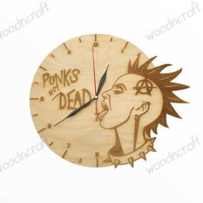 Ξύλινο ρολόι - Punks not dead - Woodncraft.gr