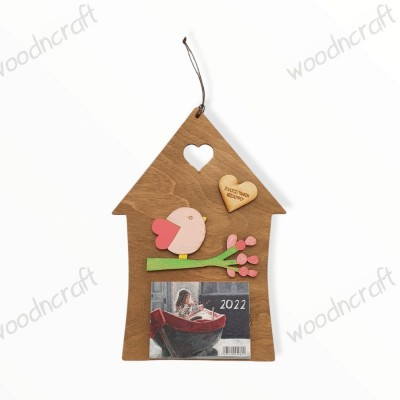 Ξύλινο ημερολόγιο - Σπιτάκι με πουλάκι