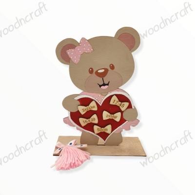 Αναμνηστικό γέννησης - Αρκουδίτσα καρδιά - Woodncraft.gr