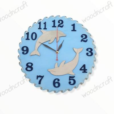 Ξύλινο ρολόι - Dolphins around - Woodncraft.gr