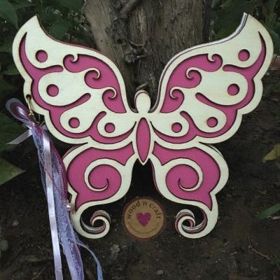 Ξύλινο Βιβλίο Ευχών Πεταλούδα